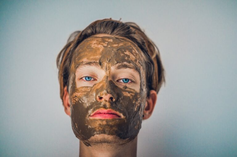 Man in mud mask